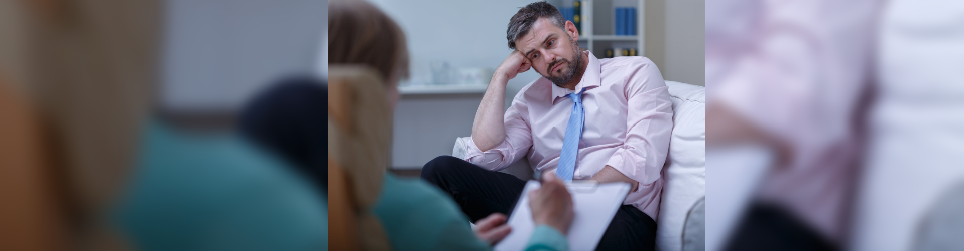 despair businessman having psychotherapy