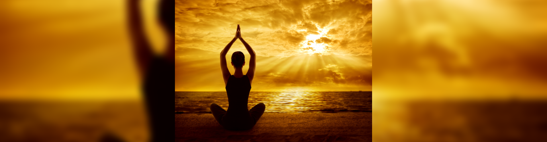 yoga meditation on sun set